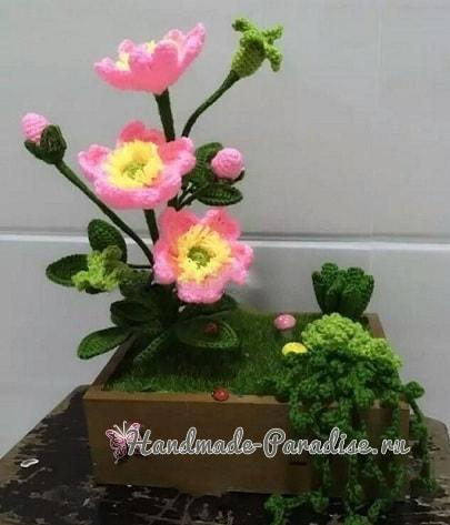 Цветы шиповника крючком. Схемы вязания (4)
