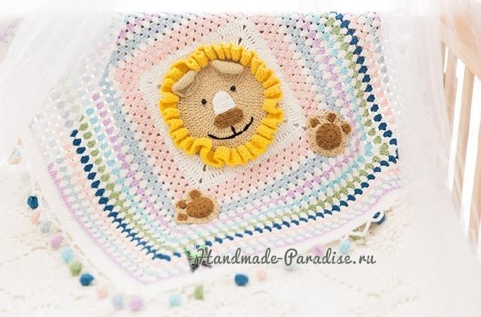 Вязание пледа с львенком для детской кроватки (1)