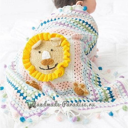 Вязание пледа с львенком для детской кроватки (3)