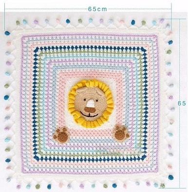 Вязание пледа с львенком для детской кроватки (4)