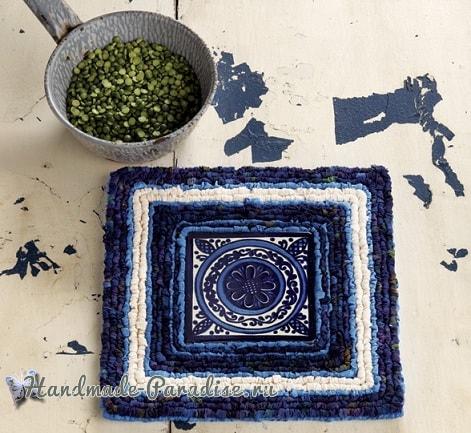 Вышивка лентами на пластиковой канве и кафельная плитка (2)