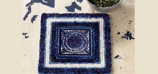 Вышивка лентами на пластиковой канве и кафельная плитка