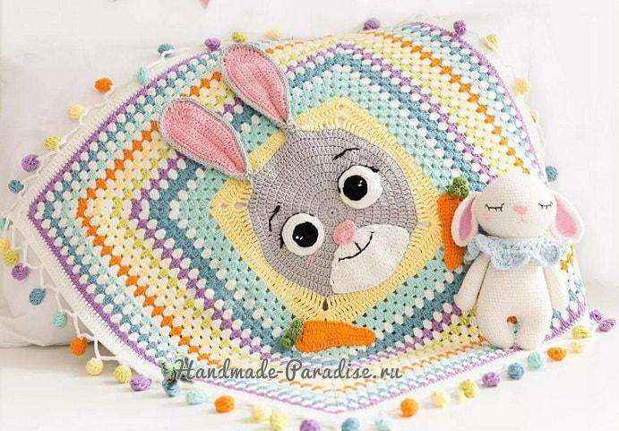 Детский плед крючком с зайкой и морковками (1)