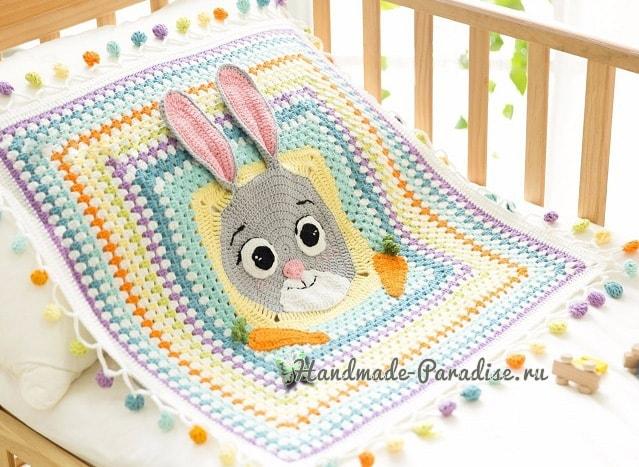 Детский плед крючком с зайкой и морковками (7)