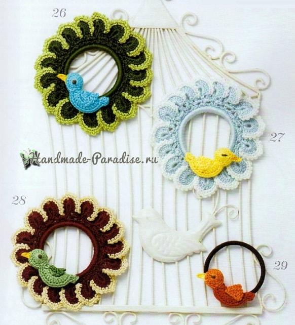 Для волос крючком. Резинки с цветами и птичками (1)