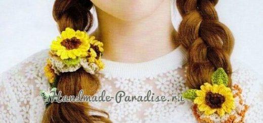 Для волос крючком. Резинки с цветами и птичками (2)