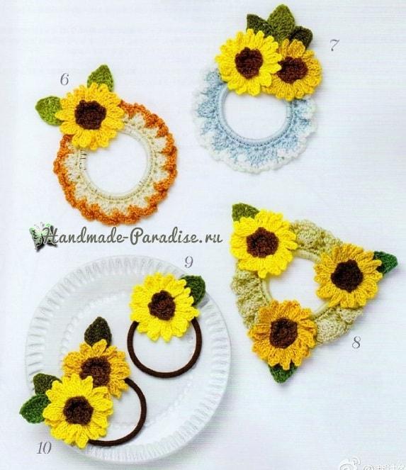Для волос крючком. Резинки с цветами и птичками (3)