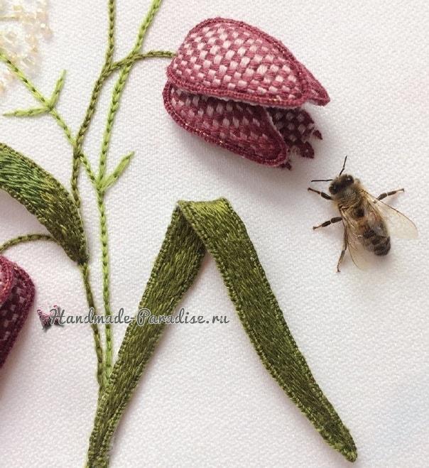 Объемная вышивка «Тюльпаны». Фото мастер-класс (1)