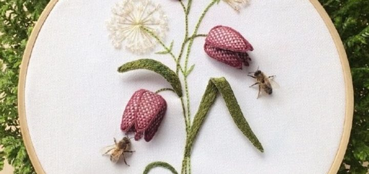 Объемная вышивка «Тюльпаны». Фото мастер-класс (2)