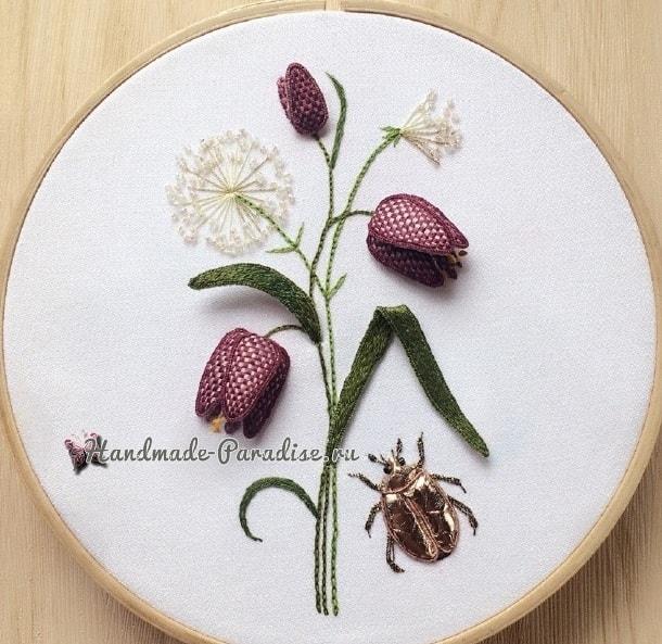 Объемная вышивка «Тюльпаны». Фото мастер-класс (3)