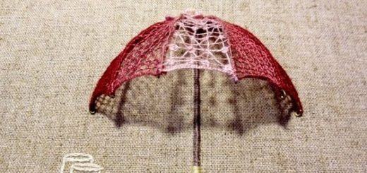 Объемная вышивка «Зонтик». Мастер-класс (2)