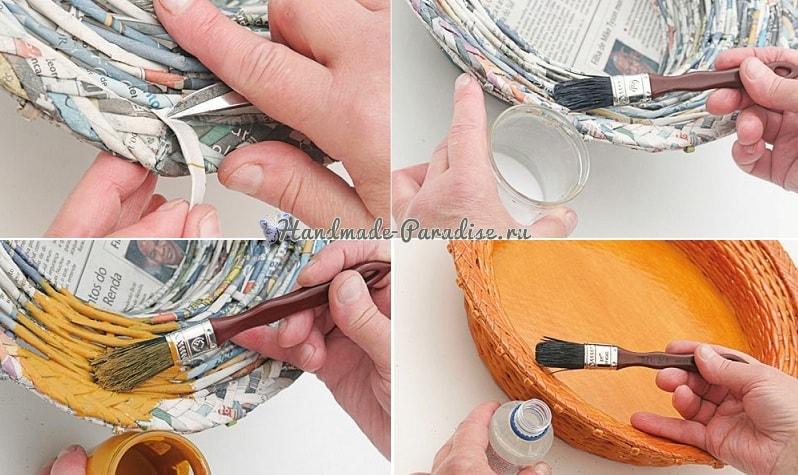 Плетение из газет корзинки для фруктов (1)