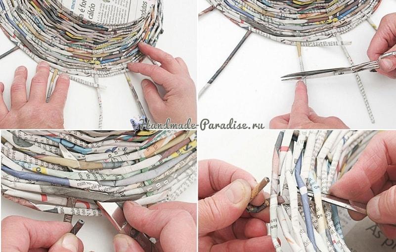 Плетение из газет корзинки для фруктов (10)