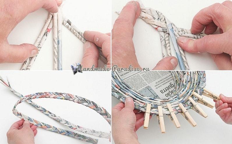 Плетение из газет корзинки для фруктов (11)