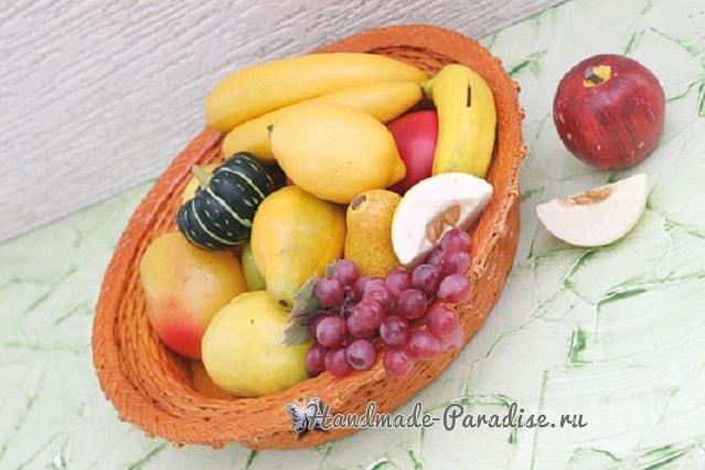 Плетение из газет корзинки для фруктов (2)