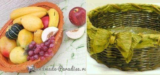 Плетение из газет корзинки для фруктов (4)