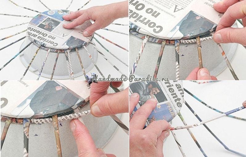 Плетение из газет корзинки для фруктов (8)