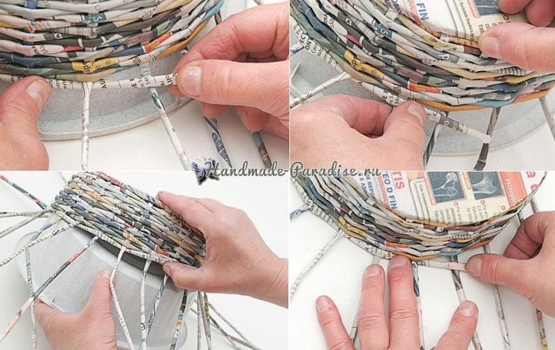 Плетение из газет корзинки для фруктов (9)