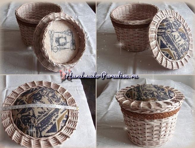 Плетение из газет корзинки-игольницы (1)