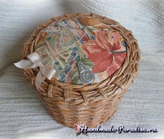 Плетение из газет корзинки-игольницы (2)