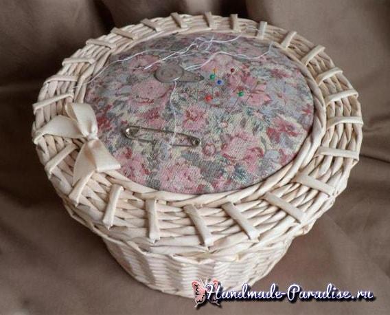 Плетение из газет корзинки-игольницы (3)