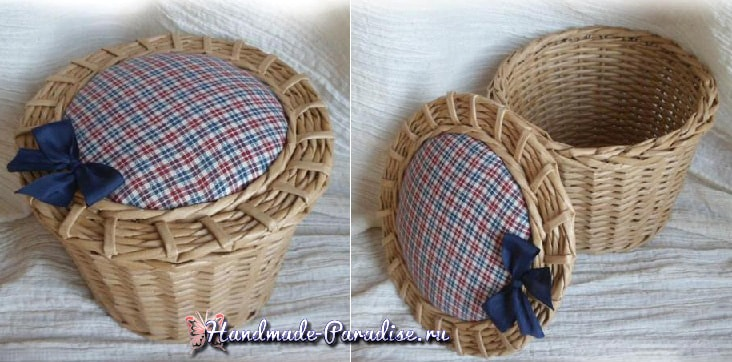 Плетение из газет корзинки-игольницы (4)