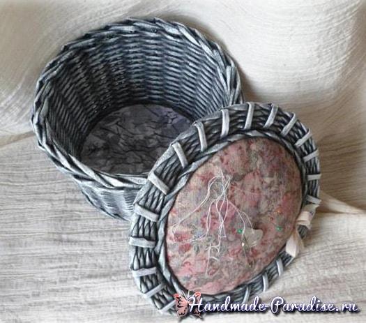 Плетение из газет корзинки-игольницы (5)