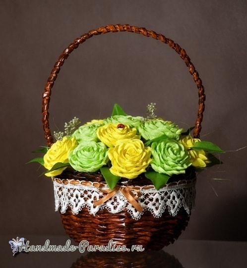 Плетение из газет корзины для цветов (2)