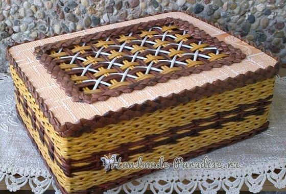 Плетение из газет крышки с цветным узором (1)