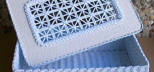 Плетение из газет крышки с цветным узором (2)
