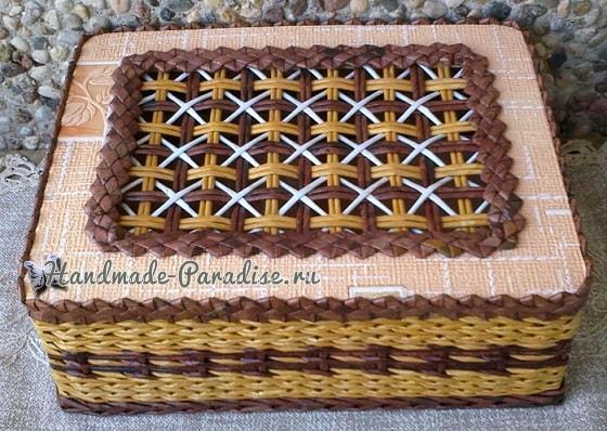 Плетение из газет крышки с цветным узором (3)