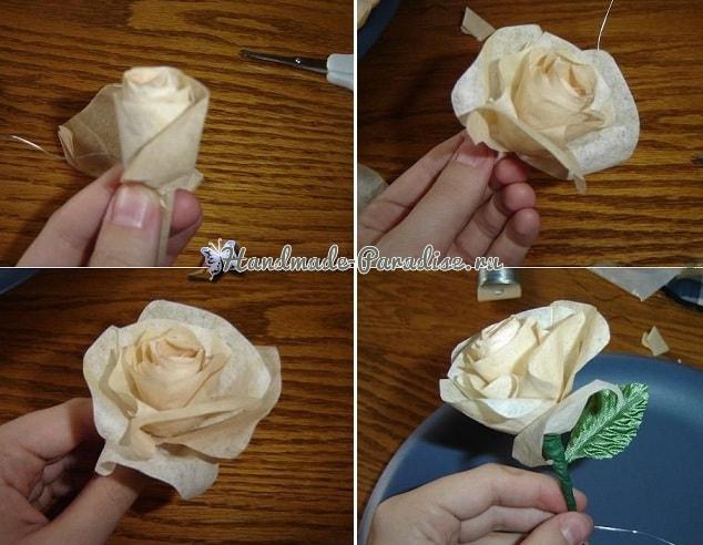 Розы из кофейных фильтров (4)