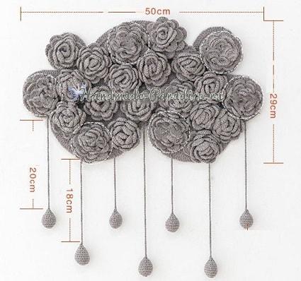 Тучка в розочках. Вязаное панно для детской комнаты (1)