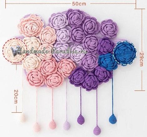 Тучка в розочках. Вязаное панно для детской комнаты (10)
