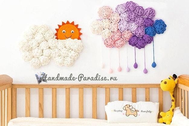 Тучка в розочках. Вязаное панно для детской комнаты (3)