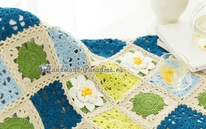 Вязание пледа с кувшинками. Схемы вязания (1)