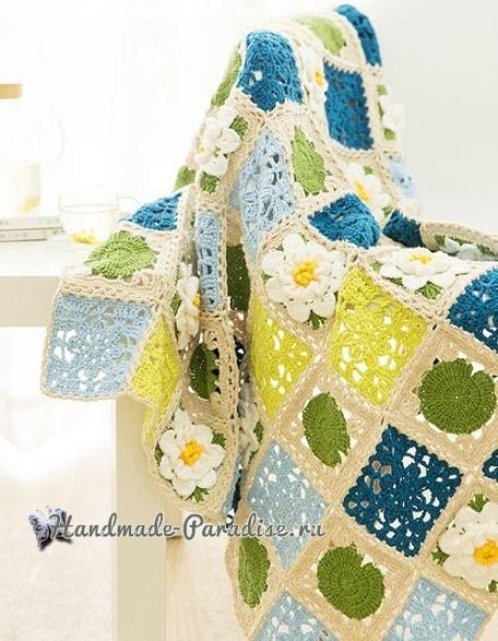 Вязание пледа с кувшинками. Схемы вязания (2)