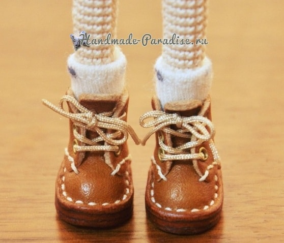 Ботиночки из кожи для куколки амигуруми (4)