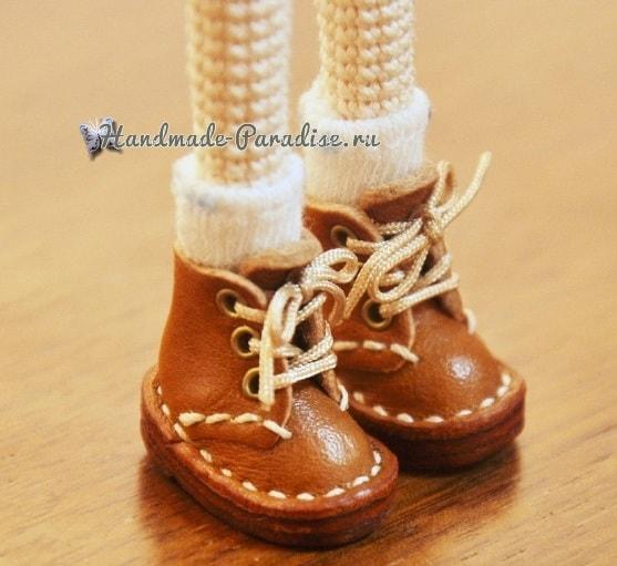 Ботиночки из кожи для куколки амигуруми (5)