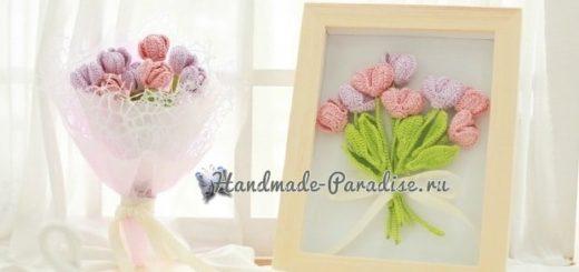 Букетик розовых тюльпанов крючком (2)