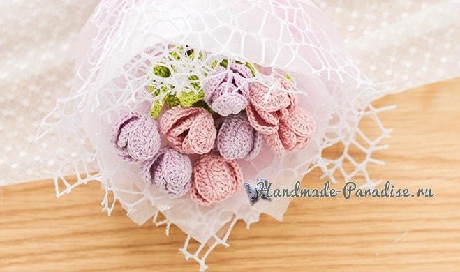 Букетик розовых тюльпанов крючком (3)