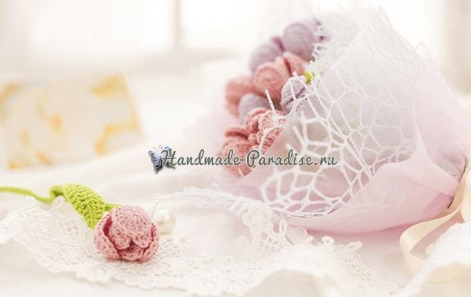 Букетик розовых тюльпанов крючком (4)