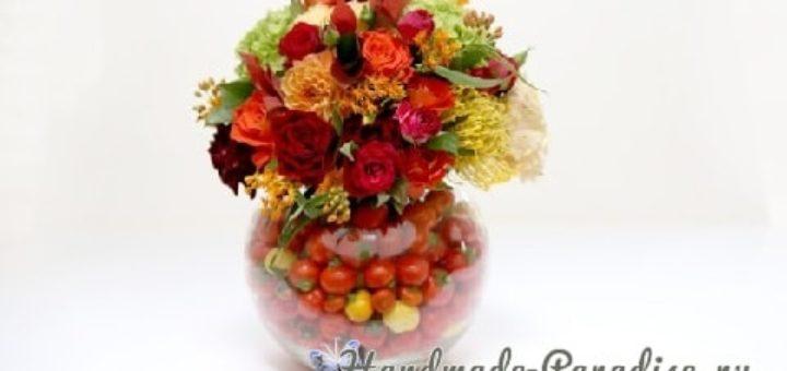 Красивая композиция из цветов и помидоров (1)