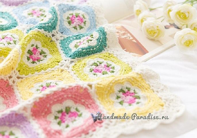 цветочный плед вязание