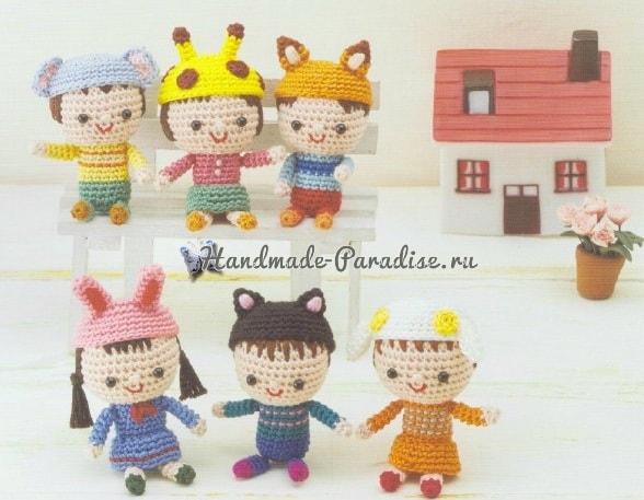 Куколки амигуруми в шапочках-зверюшках (1)