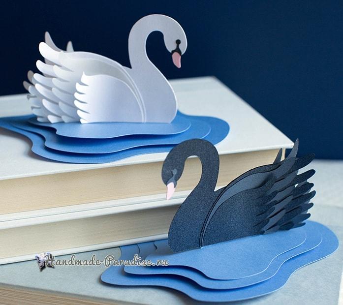 Лебеди из бумаги для свадебного торта (1)