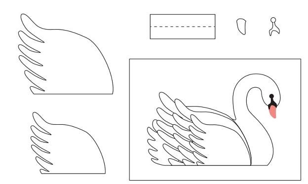 Лебеди из бумаги для свадебного торта (3)