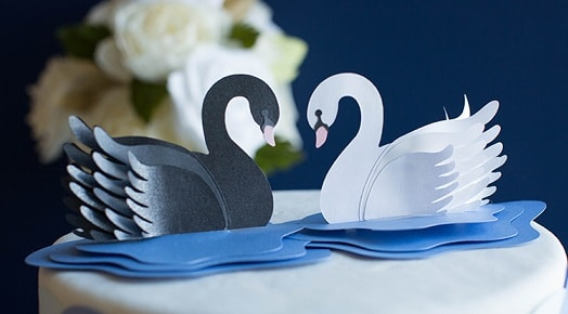 Лебеди из бумаги для свадебного торта (6)