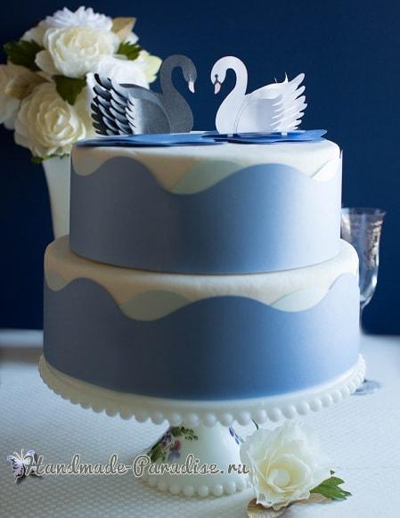 Лебеди из бумаги для свадебного торта (7)