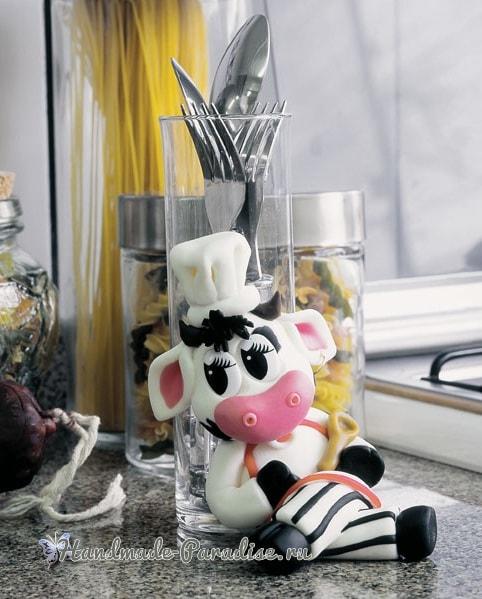 Лепка бычка-поваренка для декорирования баночки (2)